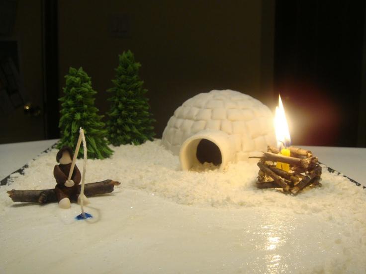 Igloo Cake - LOVE THE FIRE!!!!!