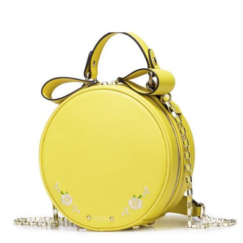 Circle Yellow Mini Bag With Flower