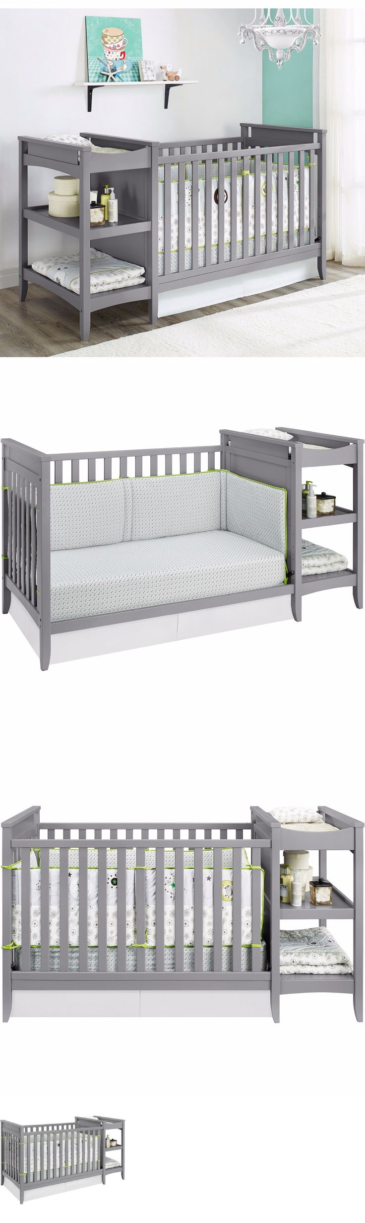 Baby Nursery: Baby Furniture Changing Table Cribs Grey Nursery Bed Diaper Modern Storage Gray BUY IT NOW ONLY: $349.99