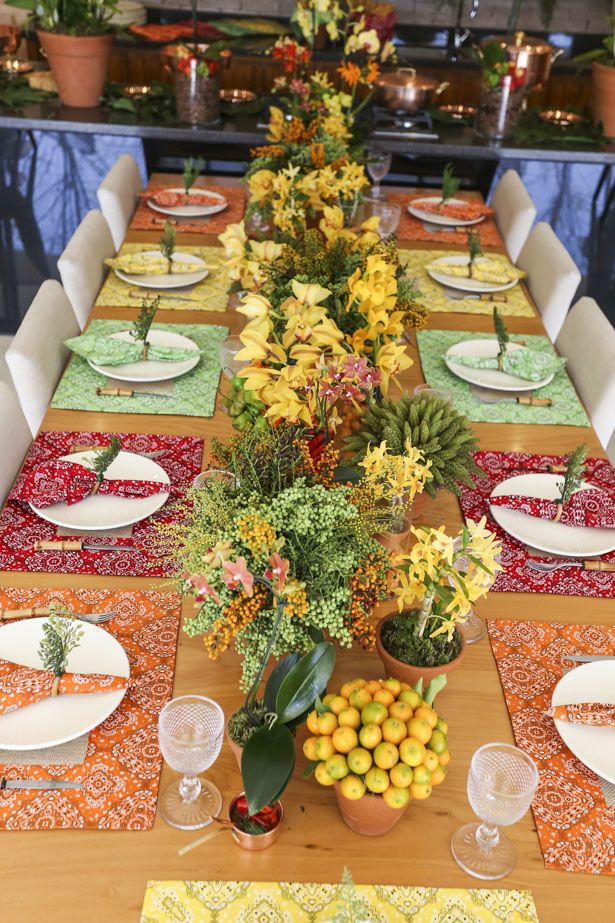festive colors with a symmetrical design makes a cohesive look with vibrant hues