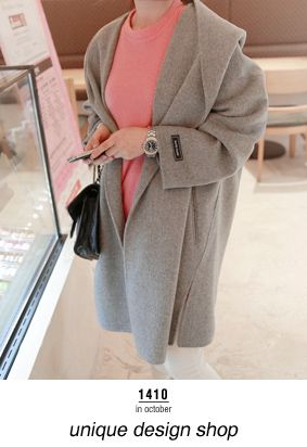 Slouchy Open Front Gray Coat
