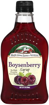Boysenberry Fruit Flavored Syrup is a rich addition to many recipes. It has a decidedly sweet and tangy flavor. maplegrove.com #boysenberry #syrup #maplegrovefarms