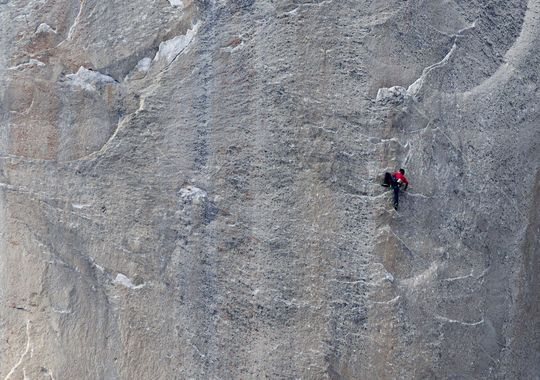 Kevin Jorgeson climbs what has been called the hardest rock climb in the world, Monday: a free climb of El Capitan in California's Yosemite National Park.(Photo: AP/Tom Evans, elcapreport)