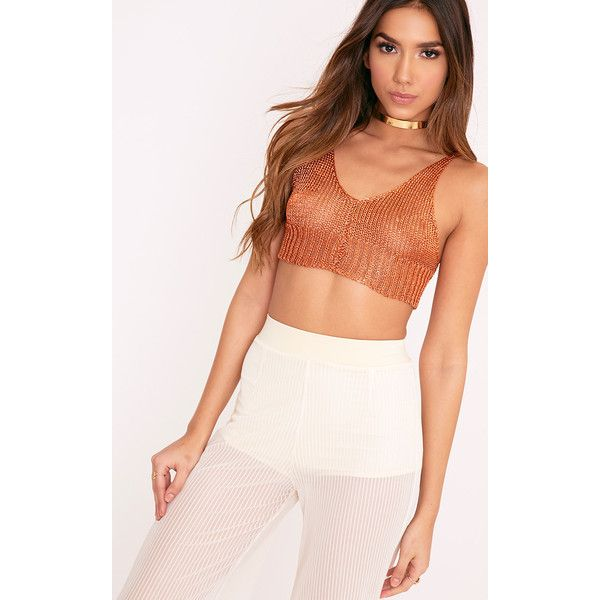Amba Rust Sheer Knit Metallic Bralet ($19) ❤ liked on Polyvore featuring tops, orange, strappy top, see through tops, sheer knit top, knit bralette top and metallic top