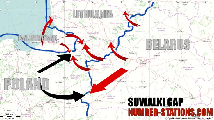 Suwalki Gap possible Russian attack routes by Number-Stations.com ( I just ad names and blue NATO border).