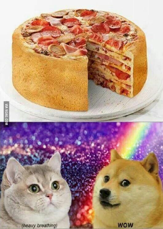 Pizza Cake! *heavy breathing cat*