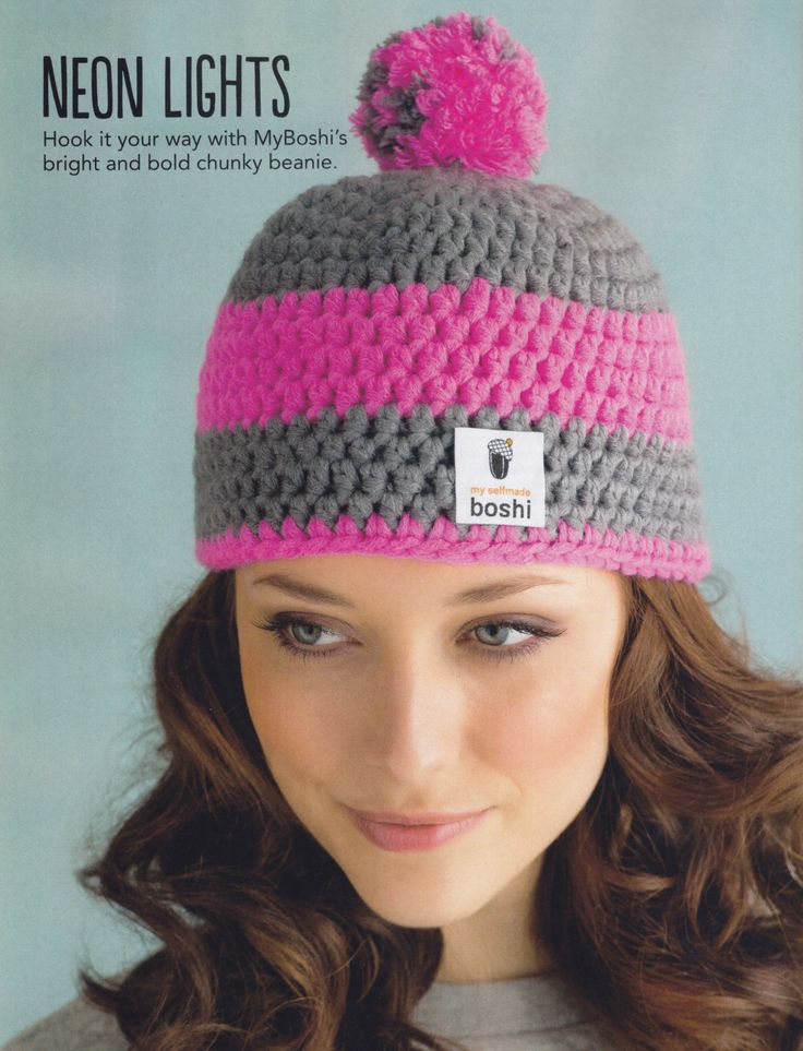 We are loving this pink and grey myboshi beanie; featured as an exclusive pattern in issue 14 of Simply Crochet magazine.