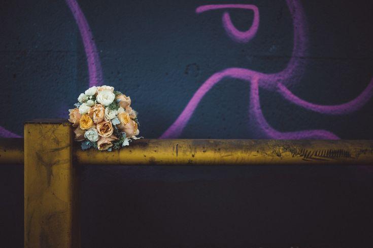 Flowers graffiti yellow blue pink orange white roses bouquet wedding Melbourne Australia photographer