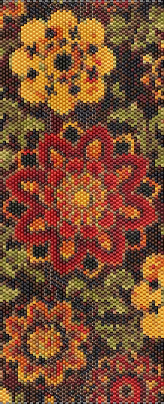 Red Tapestry Peyote Cuff Beaded Bracelet by RubyDsArtandJewelry
