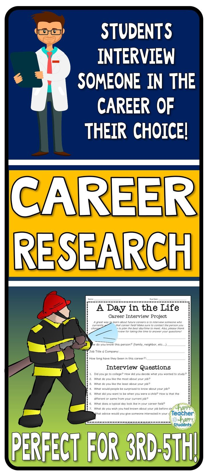 Students love to dream about the careers they will have when they grow up! This Career Exploration Research Project allows students to talk with someone in their chosen career field and find out more about what that job is really like!