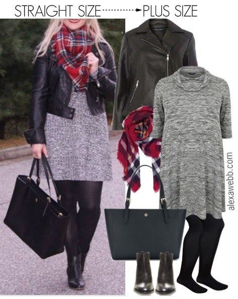 Straight Size To Plus Size  Fall Dress Outfit - Plus Size Outfit Idea - alexawebb.com #alexawebb