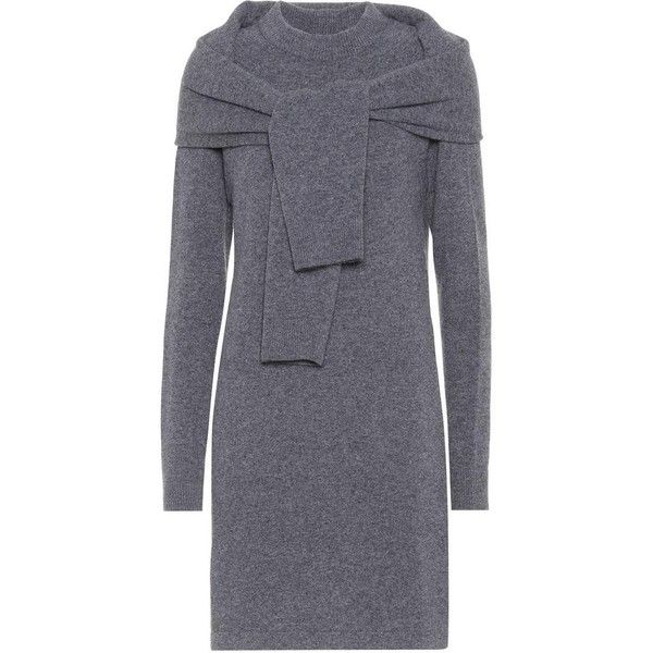 Isa Arfen Merino Wool Sweater Dress ($490) ❤ liked on Polyvore featuring dresses, sweater dress, day dresses, grey, isa arfen, gray dress, grey sweater dresses and grey dress