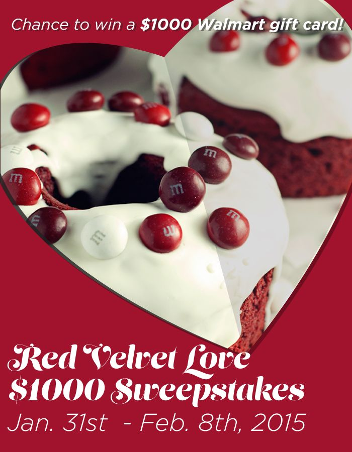 Valentine's gift idea & enter for a chance to win the Red Velvet Love $1000 Sweepstakes! Find rules and enter here: https://www.facebook.com/SoFabChats?sk=app_396393053713168 Prize: $1000 Walmart gift card Ends: 2/08/15. AD