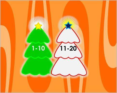 Στολίζω το δέντρο μετρώντας μέχρι το 20 Χριστουγεννιάτικο παιχνίδι εφαρμογή και εκπαιδευτική ενότητα μαθηματικών για αρίθμηση σειρά αριθμών μέχρι 20