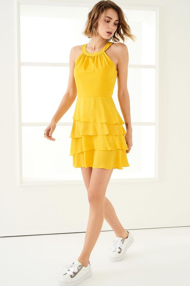 Sarı Etek Ucu Volanlı Elbise TRENDYOLMİLLA | Trendyol
