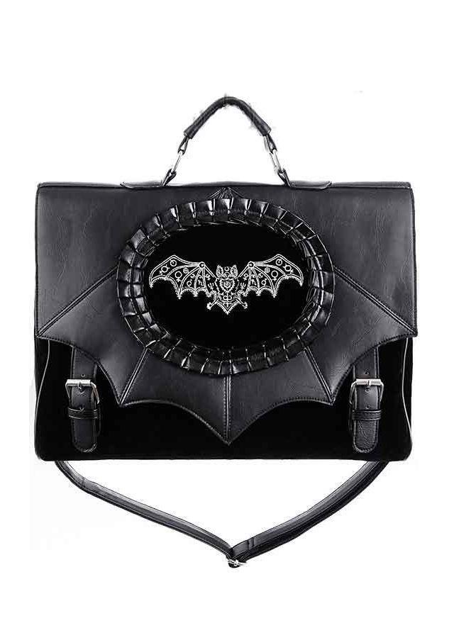 234e11a25a65 Restyle Magic Bat Embroidered Satchel Bat Cameo Bag Witch Gothic Black Satchel  Bag