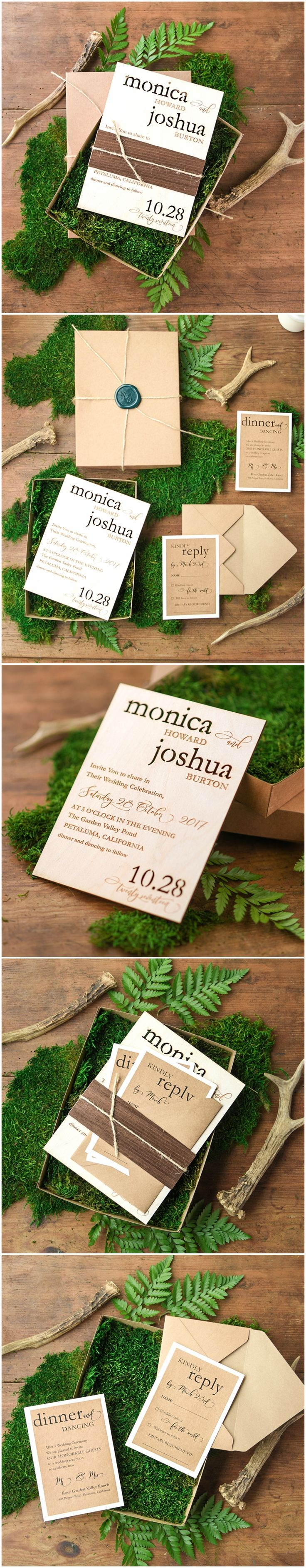how to get directions for wedding invitations%0A Wooden Wedding Invitations in a box  rustic wooden wedding