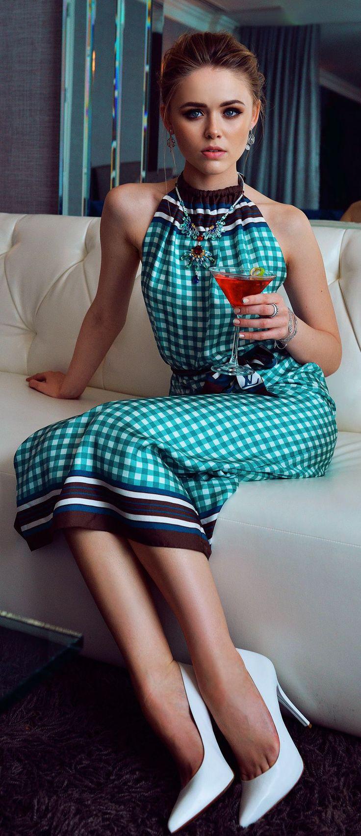 Green Multi Gingham Halter Maxi Dress by Kayture
