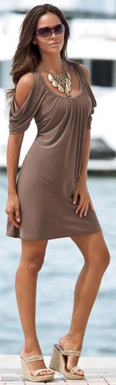 Cold Shoulder Knit Dress @ LegacyLooks.com 1800-639-6710
