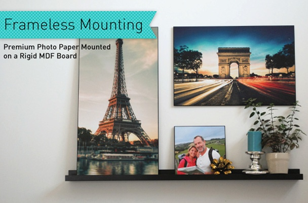 Posterjack Frameless Mounting is a great way to show off your favourite photos. Instead of a frame, your photo is mounted on a hard board and finished with a black, beveled edge. The best feature of this product is that your photo stands alone, without a frame to distract from the beauty of your image!