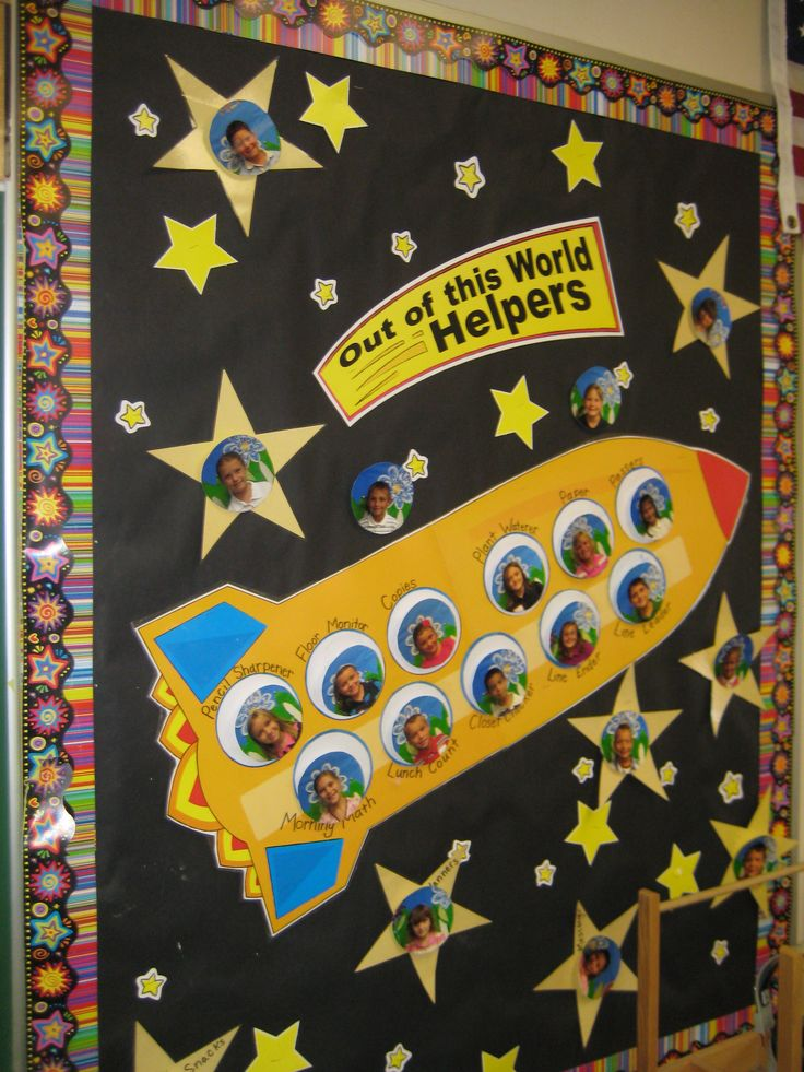 Space theme. Checkout this great post on Bulletin Board Ideas!