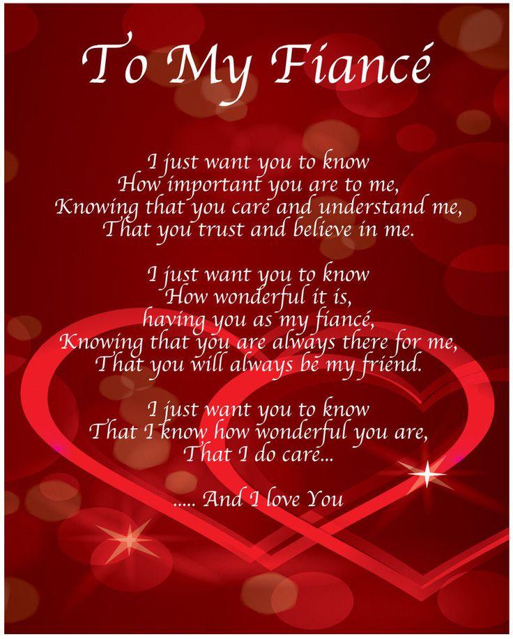 To My Fiance Poem Birthday Christmas Valentines Day Gift