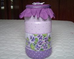 Pote de vidro decorado CR083
