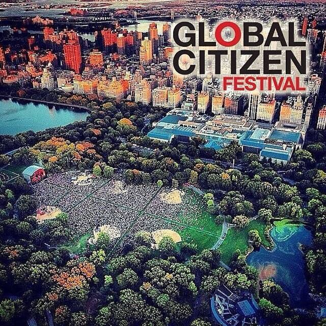 Heli Cam shot of the great lawn ..Central Park for Global Citizen 2014