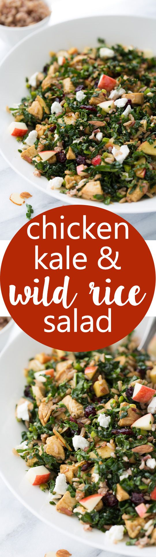 Chicken Kale & Wild Rice Salad! A healthy and delicious salad full of almonds, cranberries, apples and goat cheese. (Cubby's Copycat!)