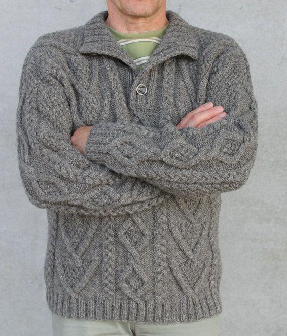 Aran Hand Knit Wool Sweater Men S Fisherman S Grey By