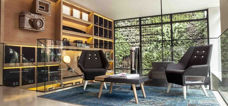 Interior & furniture design by DOSUNO Design and ODA. Hotel Click Clack, cool, spaces, lobby, chair, green wall, bogota, creative, decoration, ideas