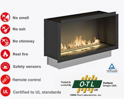 PrimeFire in casing - Ethanol fireplace insert