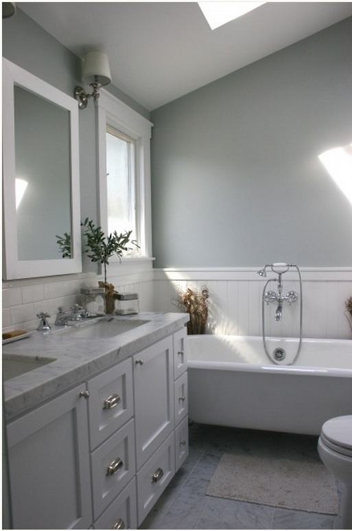 Gray/blue And White Bathroom