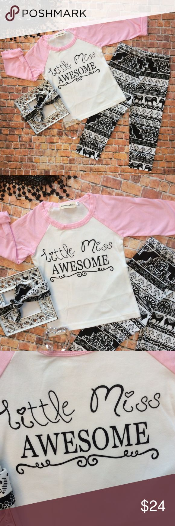 Boutique Girls 3pc LITTLE MISS AWESOME Set Precious pink & white long sleeve Raglan top with LITTLE MISS AWESOME design to front, African inspired design black & white pants & knot bow headband. Matching Sets