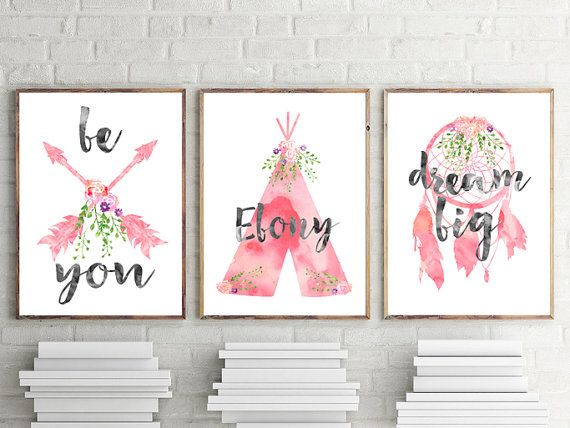 Girl Boho Nursery Print, Girl Tribal Nursery Prints, Girls Boho Wall Art  Prints, Girls Personalised Wall Art, Baby Gift, Tribal Nursery