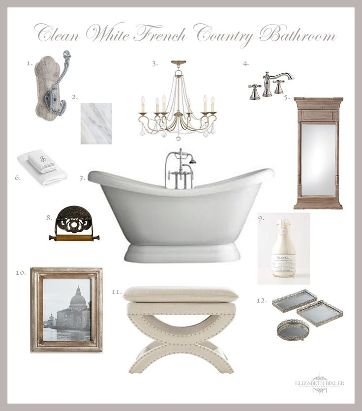 French country bathroom design collage pedestal tub for Bathroom designs 6 x 4
