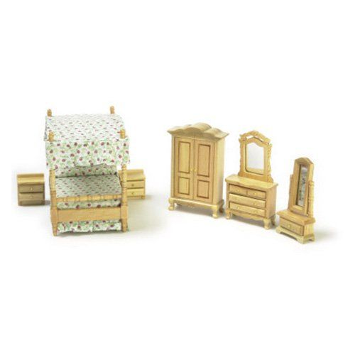 Town Square Miniatures Oak Canopy Bedroom Set | from hayneedle.com