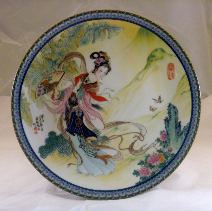 """1985 - The first plate in this exquisite series of 12 limited edition collector plates by Master Artisan Zhao Huimin  #1 Pao-chai,named also in story:薛宝钗orXue Baochaihaving the meaningPrecious Virtue 8.5"""" in diameter"""