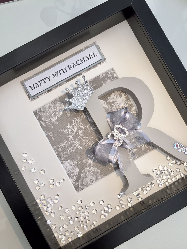 30th Birthday Box Frame Gift Handcrafted & Personalised Initial box frame with diamante embellishment & ribbon bow