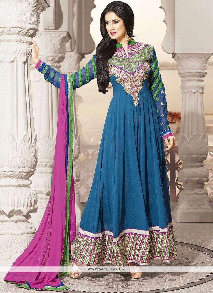 Awesome Blue Georgette Embroidered Long Anarkali Suit