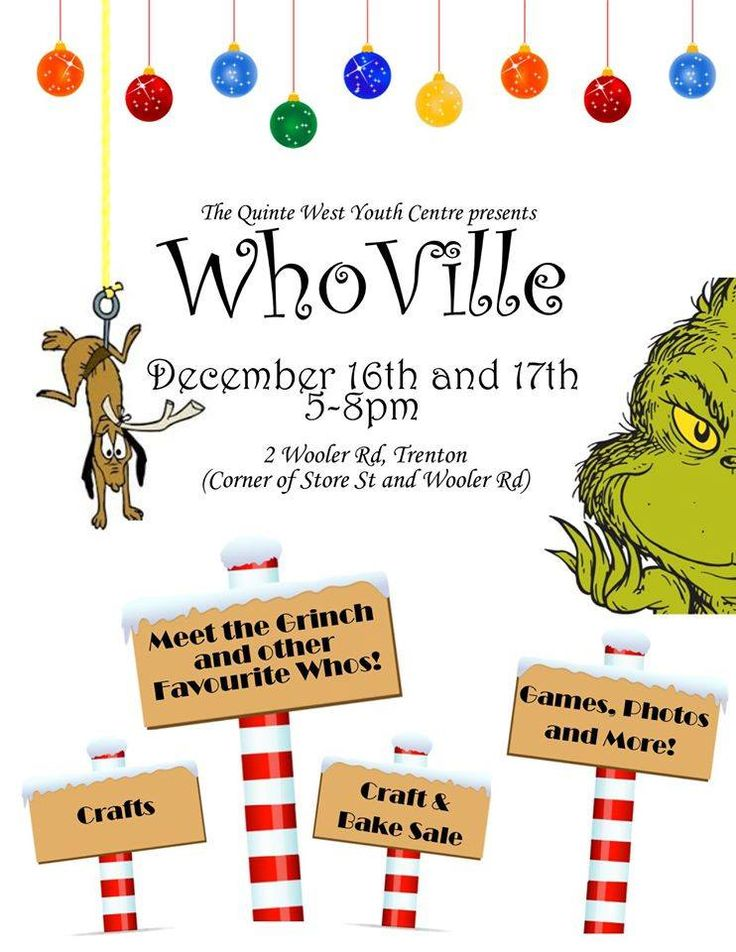 Quinte West Youth Center Whoville! Wednesday December 16th & Thursday December 17th!  from 5-8pm
