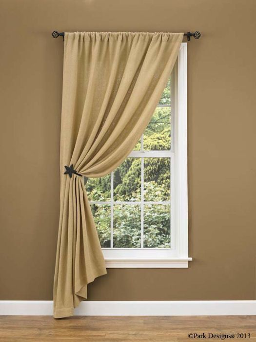 burlap curtain ideas change to ruffled top - Window Treatments For Small Living Rooms