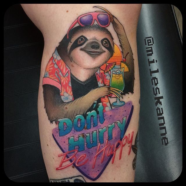 Lookin to break the internet with this one! Did this #party#sloth on @j9tattoos hands down one of my all time favorite tattoos I've done so far! #slowyoroll#donthurrybehappy#80s#80sparty#hurricane#tropical#babysloth#hawaiianshirt#90s @stevestontattoocompany @tattooistartmag @tattoolifemagazine @tattoo_art_worldwide