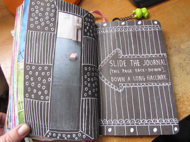 wreck this journal slide the journal down a long hallway