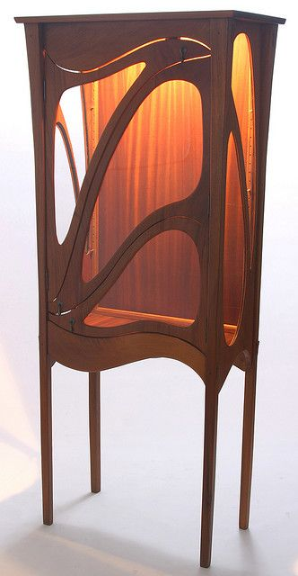Art Nouveau Honduran Mahogany Curio, if someone would like to make me this that would be great.