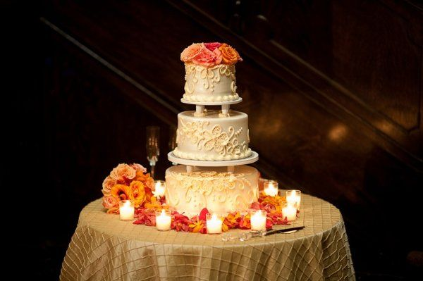 Gold Ivory Orange Round Wedding Cakes Photos & Pictures - WeddingWire.com