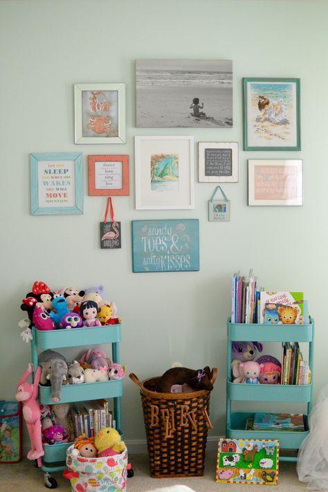 Toddler bedroom, big girl bedroom, little girl bedroom. Gallery wall library toys