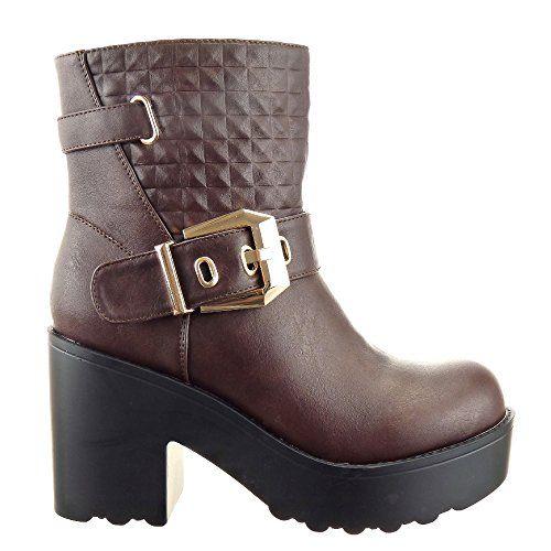 Sopily - Scarpe da Moda Stivaletti - Scarponcini Cavalier alla caviglia  donna trapuntata fibbia Tacco a