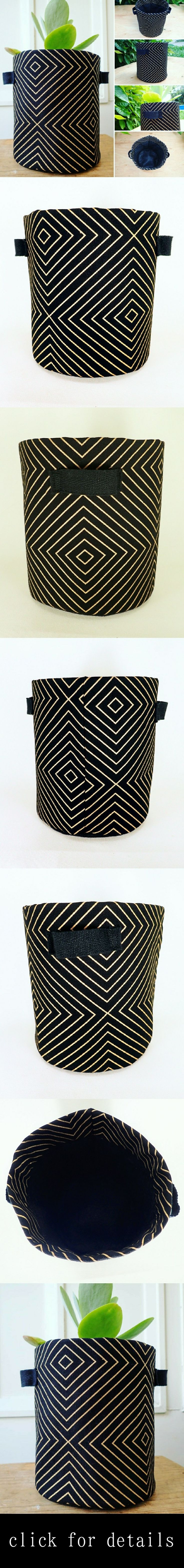 Black and Gold Geometric Deco Stripe print fabric planter, lined with durable geo fabric.  Perfect for plants that love well aerated soil - such as Orchids, Succulents, and Cacti. Versatile, attractive, and strong, these pots can also be used as fabric storage baskets to brighten up any room. Check my etsy store for details!