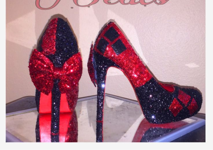 Harley quinn red and black sparkly GLITTER  high heel stiletto shoes Custom Made by CrystalCleatss on Etsy